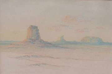 "To the Pastel ""Dawn in the Land of the Buttes"" by George Elbert Burr"