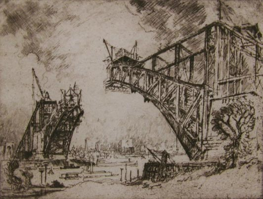 The Bridge at Hell Gate - New York City by Joseph Pennell