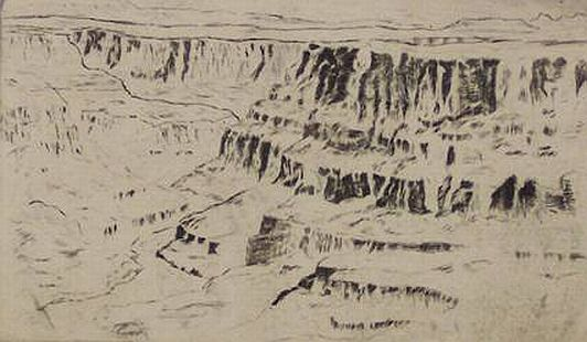 "Print: ""Grand Canyon at Desert View"" by Chester Leich, circa 1940"