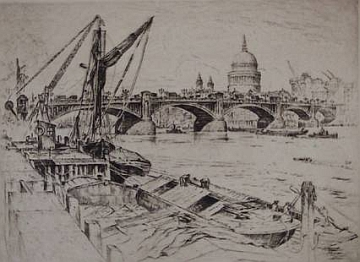 "Print: ""Southwark Bridge with St. Paul"" by Anton Schutz, dated 1928"