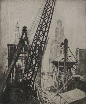 "Print: ""Building the City"" by Hubert Morley, 1931"