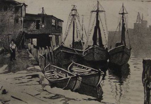 "Print: ""At the Dock"" by Joseph Margulies"