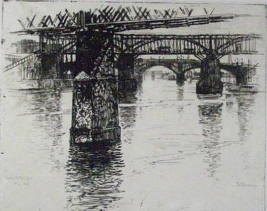 "Featured Print: ""Under the Bridges, on the Schuylkill"" by Joseph Pennell"