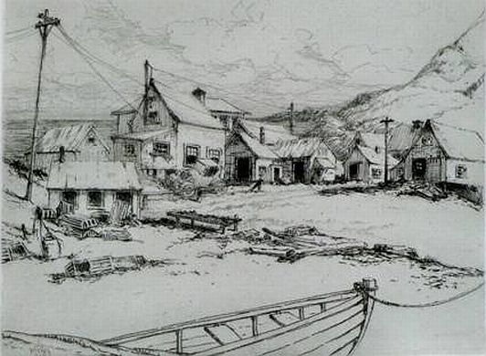 ">Charles Jac Young Print: ""Fish Houses, Ogunquit, Maine"""