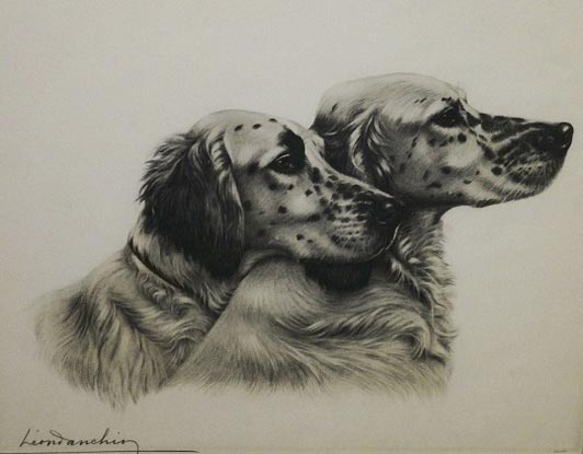 Two English Setters by Leon Danchin